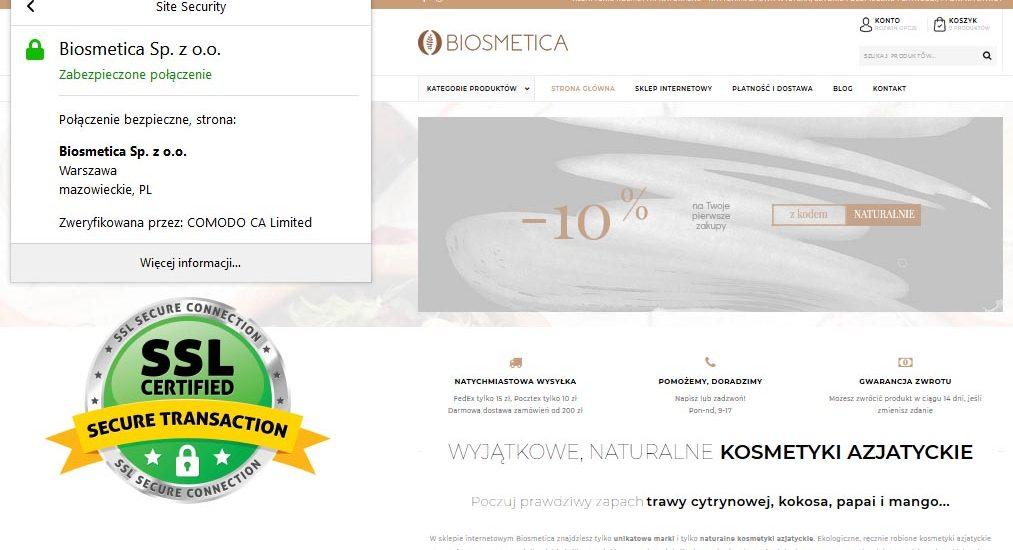 Bezpieczne zakupy w Biosmetica z certyfikatem SSL