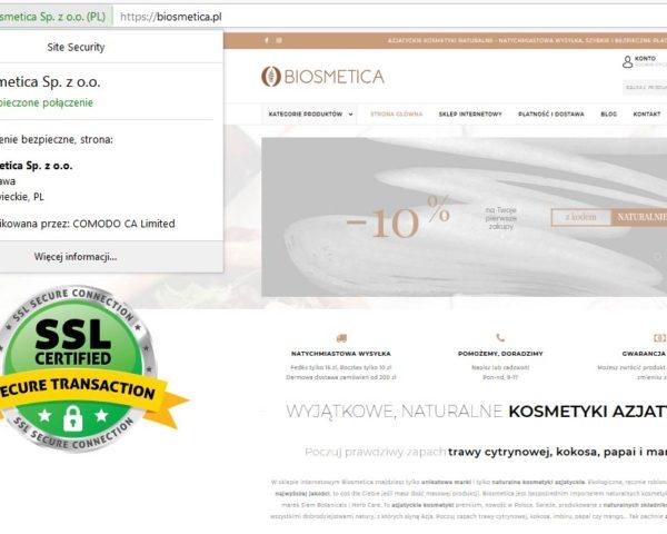Certyfikat SSL dla bezpieczeństwa Twoich zakupów w Biosmetica. Tak jak w banku!